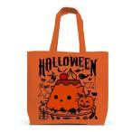 かぼちゃプリンねこのハロウィンパーティー トートバッグL(オレンジ)