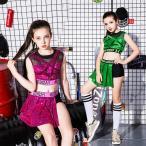 2点 スパンコール 衣装 キッズ キッズダンス衣装 ヒップホップ ガールズ ダンス衣装 セットアップ ジャズダンス 衣装 HIPHOP ステージ衣装 体操服 18xh602
