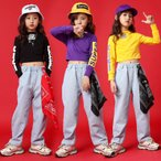 キッズ ダンス衣装 HIPHOP ヒップホップ セットアップ トップス ジーンズ デニムパンツ ズボン 子供 女の子 男の子 チア ステージ衣装 練習着