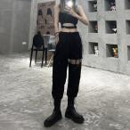 カーゴパンツ レディース  ボトムス ヒップホップダンス 舞台衣装 日常 ゆったり BF風 hiphop 着痩せ ブラック