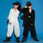 キッズ ダンス衣装 ガールズ ジャズダンス 韓国 HIPHOP ロックダンス衣装 キッズダンス 子供 JAZZ DANCE スーツ ベスト スラックス 白 黒