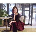 パーティードレス  ワンピース かわいい おしゃれ フォーマル  結婚式 花柄 レース リボン フレア  黒 赤 ドレス ミニドレス