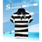 ポロシャツ メンズ ボーダー Tシャツ 半袖シャツ Vネック POLOシンプル カジュアル トップス 大きいサイズ 新作