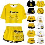 BTS butter 上下セット レディース 大人用 子供用 Tシャツ 半袖 パンツ 服 グッズ 女性 韓流グッズ ウェア セットアップ 上下 女の子 防弾少年団