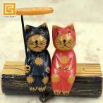 バリ雑貨 木彫り バリネコS(カップル&魚) 切り株付き   バリ猫 インドネシア バリ風 インテリア