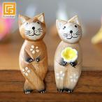 バリネコS(カップル)(ナチュラル)  猫グッズ 雑貨 プレゼント 猫雑貨 人形 バリ猫 置物