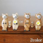 バリネコS(親子)(ナチュラル)(親2子1)  猫グッズ 雑貨 プレゼント 猫雑貨 人形 バリ猫 置物