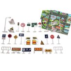 Yahoo!ミルティラーナ標識 おもちゃ ミニカー と遊べる 道路標識 ( 28個入 + 道路シート付き )  得トク0706
