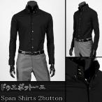 ワイシャツ メンズ 長袖 2ボタン ドゥエボットーニ ボタンダウン シャツ ゴールド・ボタン  ブラック yp05bl