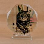 Pet&Love. ペットのお墓 ガラス製 お客様のペット写真刻印 オーダーメイド メッセージ変更可能 タイプ1 Sサイズ 高さ12cm 全体カラー