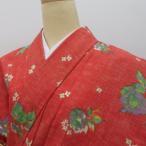 その他着物 ウール着物 赤 緑紫薔薇 白小花 人気 普段使い 着付練習 身長約155前後の方に【キモノオフ】