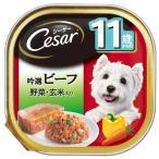 マースジャパンリミテッド:シーザー 11歳からの 吟選ビーフ 野菜・玄米入り 100g 犬 フード ウェット トレー トレイ CE61N