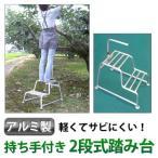 ミツル: アルミ製 持ち手付き 2段式踏み台 (高さ20+40cm)(農具 ガーデン)20+40 20-40