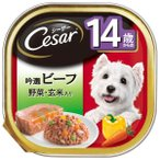 マースジャパンリミテッド:シーザー 14歳からの 吟選ビーフ 野菜・玄米入り 100g 犬 フード ウェット トレー トレイ CE67N