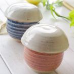 ペア2個セット 松助窯 キノコのビシソワーズスープ碗 蓋付茶碗蒸しクリームヘッド(フタ)+ピンク&ブルー(身) 美濃焼 小鉢 釉薬 和 釉薬