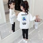 トレーナー スウェット 韓国系子供服 キッズ 女の子 2020 春 夏 ワイドシルエット 前後丈違い ガールズフォト リアル