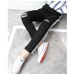 ロング パンツ 韓国系子供服 デニム キッズ 女の子 男の子 2020 春 夏 サイド ライン クラッシュ ダメージ 韓国系ファッション ストレッチ 若干
