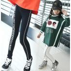 韓国系子供服 レギンス スリム ライン レター ロゴ レターズ キッズ 女の子 2019 春 スポーティー スポーツMIX