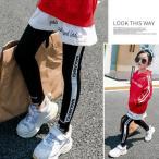 韓国系子供服 レギンス ライン スキニー スリム レター ロゴ レターズ キッズ 女の子 2019 春夏 スポーティー スポーツ MIXダンス