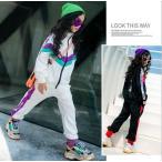 韓国系子供服 セットアップ 薄手 スウェット ライン レター ロゴ キッズ 女の子 男の子 2019 春 スポーティー スポーツMIX ダンス