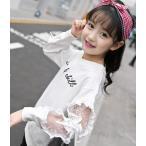 トレーナー 韓国系子供服 スウェット 薄手 キッズ 女の子 2019 秋 冬 ボーダー リボン レース ロゴ 刺繍 かわいい 着心地さらり 良品質