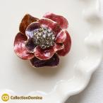 マグネットブローチ 磁石 花 フラワーモチーフ ラインストーン 赤 レッド レディース アクセサリー 雑貨 小物