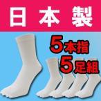 其它 - (メール便の場合、送料無料)日本製の5本指靴下白5足組です 五本指靴下 五本指ソックス 綿100% 消臭加工 水虫対策 5本指ソックス 5本指ソックス メン