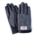 iTouch Gloves アイタッチグローブ HARRIS TWEED ヘリンボーン タッチパネル対応 レザー 手袋 Black iTGL-H012-BKH/Lsize
