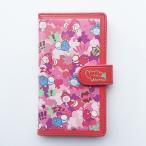 星たぬきパターン柄手帳型スマートフォンケース:レッド