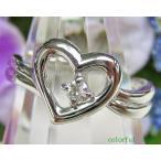 PT900 ダイヤモンド 0.05ct ハート リング サイズ「13.5」 【中古】【プラチナ】【ジュエリー】【ダイア】【指輪】【レディース】