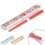 箸&箸箱セット スライド式 エルアンドエフ 音の鳴らないクッション付 18cm ( 食洗機対応 はし お弁当用 )