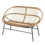 ラタンチェア 2人掛け ラブチェア アイアンフレーム 籐家具 幅119cm ( チェア 椅子 ラタンソファ )