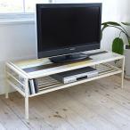 ショッピングused テレビ台 ローボード CHROME 天然木 スチールフレーム 幅120cm ( テレビボード TV台 TVボード AV収納 AVボード )