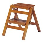 ステップチェア 折りたたみ式 2段 木目 ブラウン( 踏み台 踏台 脚立 椅子 イス 木製 )