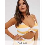 モドクロス 水着 大きいサイズ レディース Mod Cloth Siena cut out swimsuit in orange and white stripe エイソス ASOS