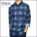 ラルフローレン 長袖シャツ Polo Ralph Lauren インディゴ チェック柄 長袖 ウエスタン シャツ メンズ