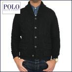 ラルフローレン セーター Polo Ralph Lauren ブラック インディゴ染め ケーブル編み アランニット セーター カーディガン メンズ