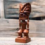 木製手彫りのハワイティキ ガーディアン「クーゴッド」(全体運):Mサイズ 【ハワイアン雑貨、フィギュア、木彫り、守り神】