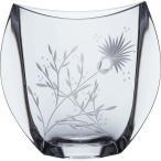 ボヘミアングラス クリスタル彫刻 花瓶