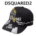 ディースクエアード DSQUARED2 ベースボールキャップ ロゴプリント ワッペン ブラック BCM0200 08C00001 2124