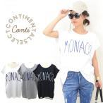 メール便可 半袖 ロゴTシャツ レディース MONACO モナコ バックストライプ ホワイトグレーネイビー白紺ワンサイズ