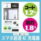 スマホ用超速AC充電器 マイクロUSB 1.8A出力 ホワイト クールモバイルカンパニー