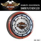 ショッピングハーレーダビッドソン ハーレーダビッドソン HARLEY-DAVIDSON DIAMOND PLATE NEON CLOCK ダブルネオンクロック HDL-16611