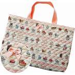 レッスンバッグ スィーツパーティ ピンクxベージュ キルティング 女の子 かわいい手提げ A4 B4 図書 図工 日本製
