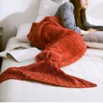 マーメイドブランケット 厚手 ブランケット 膝掛け 毛布 人魚 ブルー レッド ピンク パープル グリーン