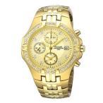 パルサーPULSAR スワロフスキー装着 ゴールド 50m防水 メンズ 腕時計 PF8174