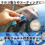 ウロコ取り 10個入り 磨き スポンジ コンパウンド 車 窓 ガラス コーティング 油膜取り 油膜とり フェルトスポンジ 水垢取り