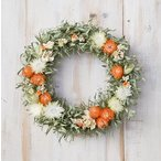 ショッピング 草原で見つけた妖精の花冠♪Coquelicot Orange☆柔らかオレンジ色のリース ナチュラルなグリーンとオレンジのドライフラワーリース 母の日 ギフト