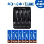 充電池 単3形 8本 充電器 セット 充電式電池 乾電池 ケース付 ニッケル水素対応 防災グッズ USB 単3形 単4形 兼用 充電器 電池 enevolt 車中泊グッズ