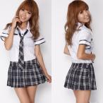 ショッピングコスプレ コスプレ 学生服 チェック×ネイビーカラーの半袖制服 i−218